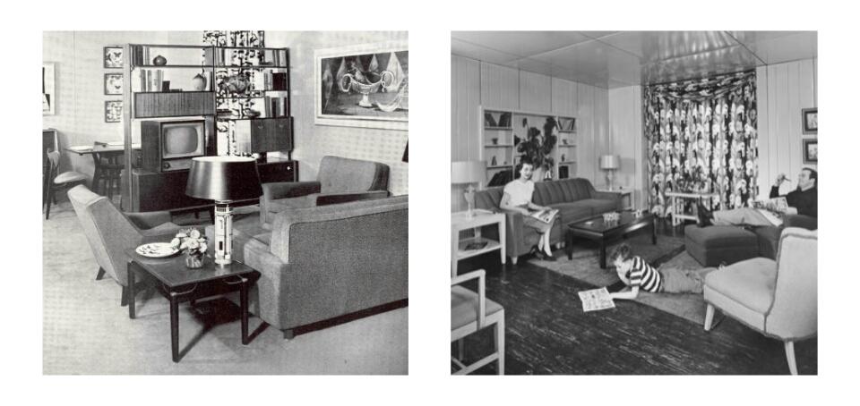 Interieur van de jaren 50 - Behang van de jaren ...