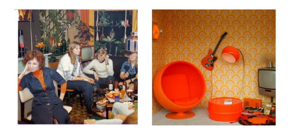 Interieur van de jaren 70 - Behang van de jaren ...